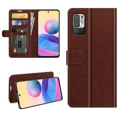 Xiaomi Redmi Note 10 5G hoesje, MobyDefend Wallet Book Case (Sluiting Achterkant), Bruin