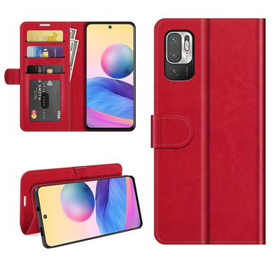 Xiaomi Redmi Note 10 5G hoesje, MobyDefend Wallet Book Case (Sluiting Achterkant), Rood
