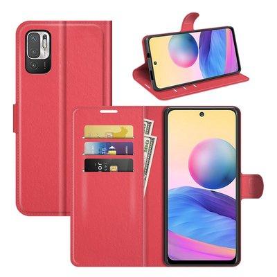 Xiaomi Redmi Note 10 5G hoesje, MobyDefend Kunstleren Wallet Book Case, Rood