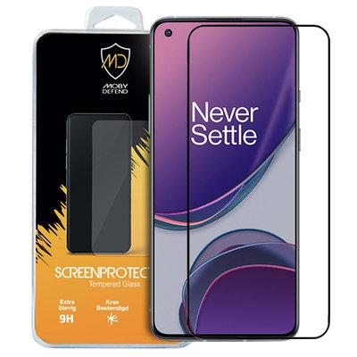 OnePlus 8T screenprotector, MobyDefend gehard glas screensaver, Zwarte randen