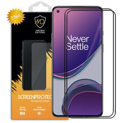2-Pack OnePlus 8T screenprotectors, MobyDefend gehard glas screensavers, Zwarte randen