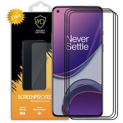 3-Pack OnePlus 8T screenprotectors, MobyDefend gehard glas screensavers, Zwarte randen