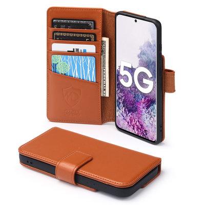 Samsung Galaxy S20 hoesje, MobyDefend luxe echt leren wallet bookcase, Cognacbruin