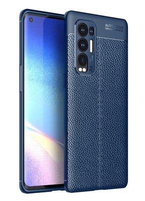 Oppo Find X3 Neo hoesje, MobyDefend TPU Gelcase, Lederlook, Navy blauw