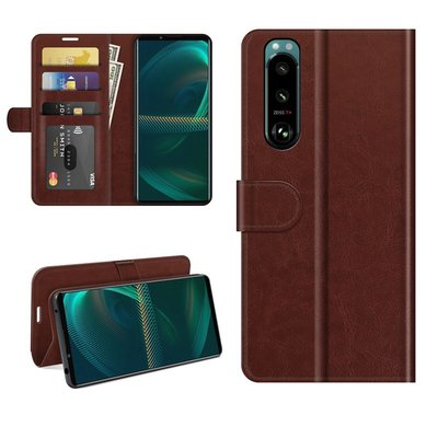 Sony Xperia 5 III hoesje, MobyDefend Wallet Book Case (Sluiting Achterkant), Bruin