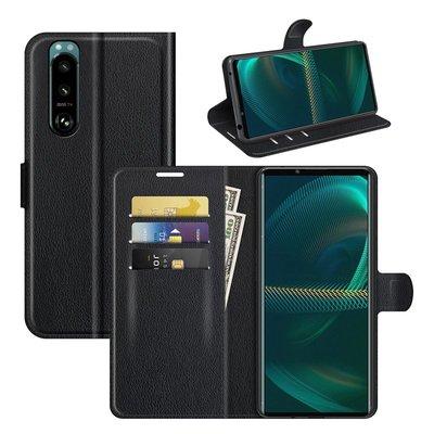 Sony Xperia 5 III hoesje, MobyDefend Kunstleren Wallet Book Case, Zwart