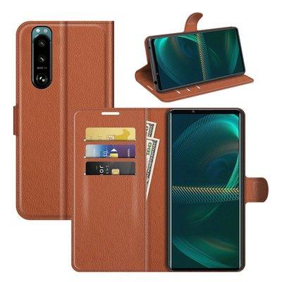Sony Xperia 5 III hoesje, MobyDefend Kunstleren Wallet Book Case, Bruin