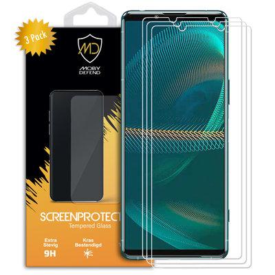 3-Pack Sony Xperia 5 III Screenprotectors, MobyDefend Case-Friendly Gehard Glas Screensavers