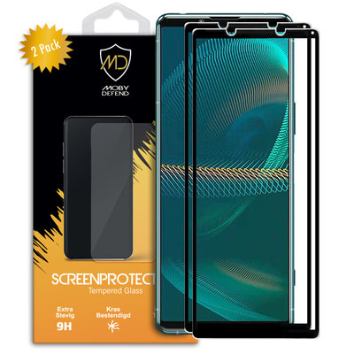2-Pack Sony Xperia 5 III Screenprotectors, MobyDefend gehard glas screensavers, Zwarte randen
