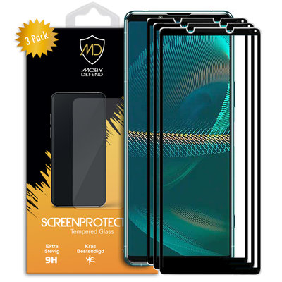3-Pack Sony Xperia 5 III Screenprotectors, MobyDefend gehard glas screensavers, Zwarte randen