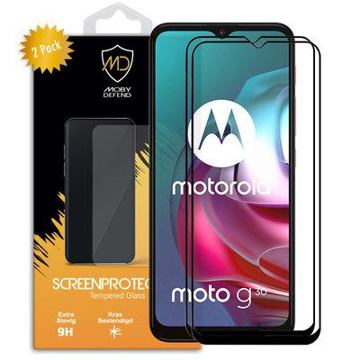 2-Pack Motorola Moto G30 / G20 / G10 Screenprotectors, MobyDefend gehard glas screensavers, Zwarte randen