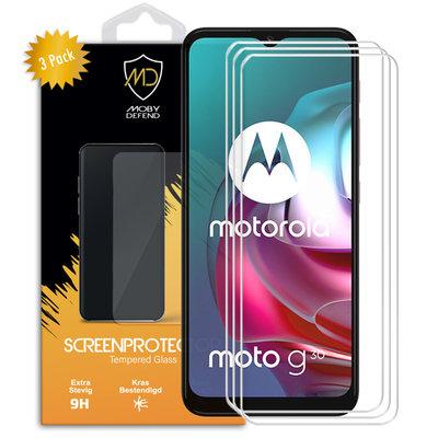 3-Pack Motorola Moto G30 / G20 / G10 Screenprotectors, MobyDefend Case-Friendly Gehard Glas Screensavers