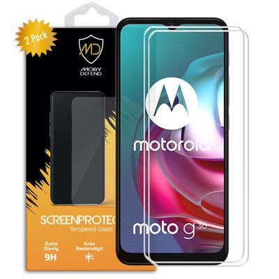 2-Pack Motorola Moto G30 / G20 / G10 Screenprotectors, MobyDefend Case-Friendly Gehard Glas Screensavers