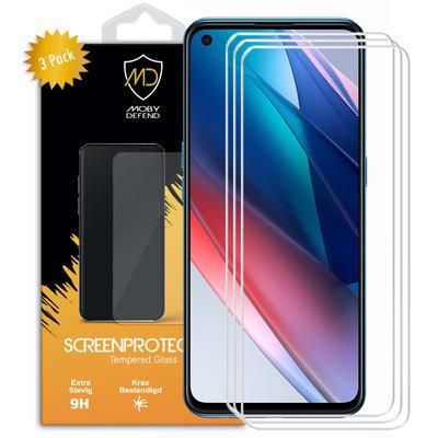 3-Pack Oppo Find X3 Lite Screenprotectors, MobyDefend Case-Friendly Gehard Glas Screensavers