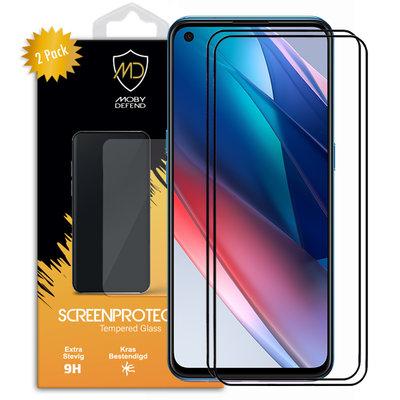 2-Pack Oppo Find X3 Lite Screenprotectors, MobyDefend Gehard Glas Screensavers, Zwarte Randen