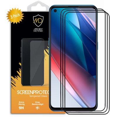 3-Pack Oppo Find X3 Lite Screenprotectors, MobyDefend Gehard Glas Screensavers, Zwarte Randen