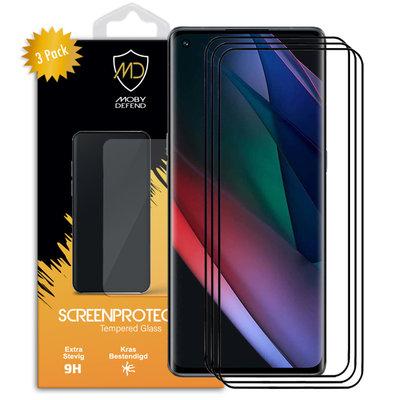 3-Pack Oppo Find X3 Neo Screenprotectors, MobyDefend Gehard Glas Screensavers, Zwarte Randen
