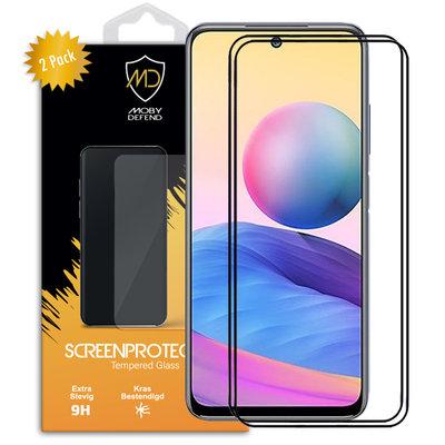 2-Pack Xiaomi Redmi Note 10 5G Screenprotectors, MobyDefend Gehard Glas Screensavers, Zwarte Randen