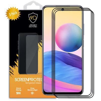 3-Pack Xiaomi Redmi Note 10 5G Screenprotectors, MobyDefend Gehard Glas Screensavers, Zwarte Randen