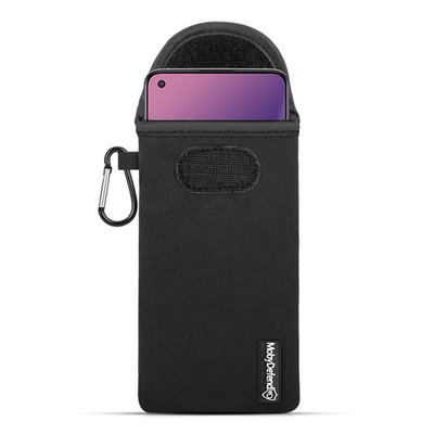 Hoesje voor OnePlus 8T, MobyDefend Neopreen Pouch Met Karabijnhaak, Insteekhoesje, Riemlus Hoesje, Zwart