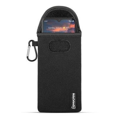 Hoesje voor Nokia 5.3, MobyDefend Neopreen Pouch Met Karabijnhaak, Insteekhoesje, Riemlus Hoesje, Zwart