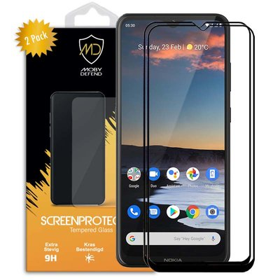 2-Pack Nokia 5.3 Screenprotectors, MobyDefend Gehard Glas Screensavers, Zwarte Randen
