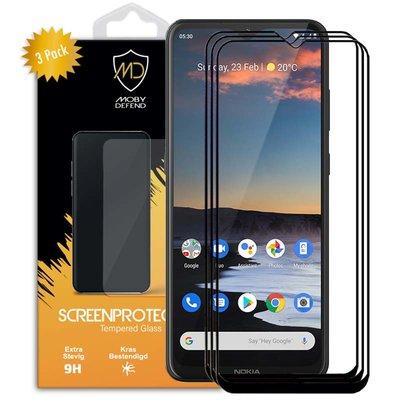 3-Pack Nokia 5.3 Screenprotectors, MobyDefend Gehard Glas Screensavers, Zwarte Randen