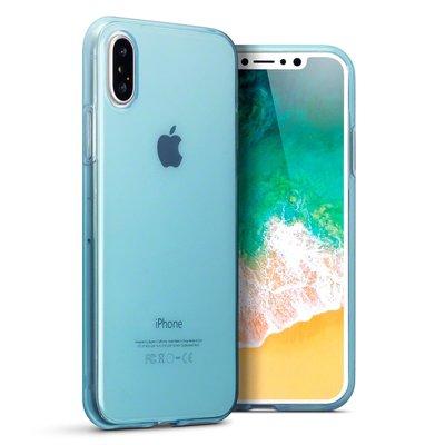Apple iPhone X / iPhone XS hoesje, gel case, blauw doorzichtig
