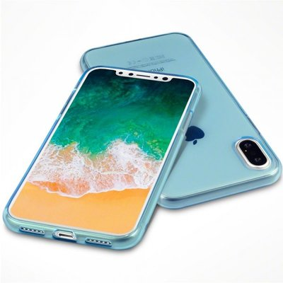 Apple iPhone X / iPhone XS hoesje, gel case, blauw doorzichtig