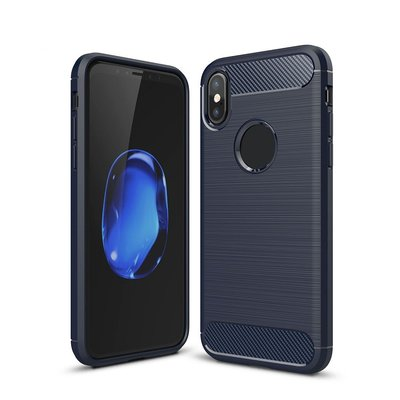 Apple iPhone X / iPhone XS hoesje, gel case carbon look, blauw