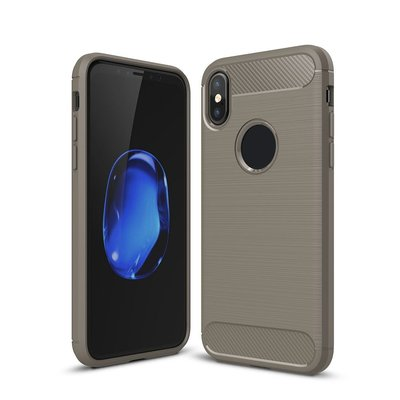 Apple iPhone X / iPhone XS hoesje, gel case carbon look, grijs