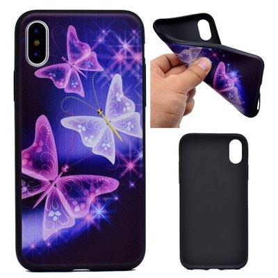 Apple iPhone X / iPhone XS hoesje, gel case met print, paarse vlinders