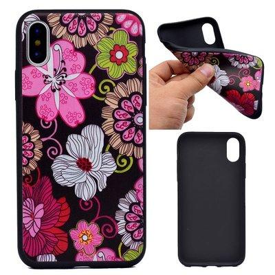 Apple iPhone X / iPhone XS hoesje, gel case met print, bloemen