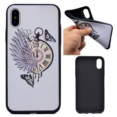 Apple iPhone X / iPhone XS hoesje, gel case met print, klok