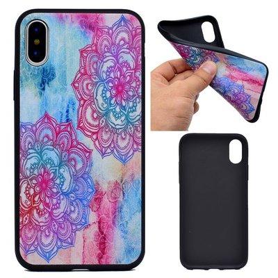 Apple iPhone X / iPhone XS hoesje, gel case met print, blauw en roze