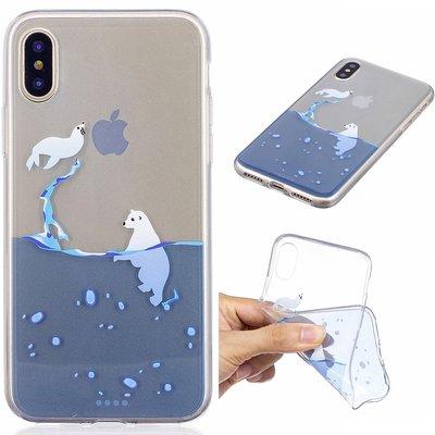 Apple iPhone X / iPhone XS hoesje, doorzichtige gel case met print, zeeleeuwen