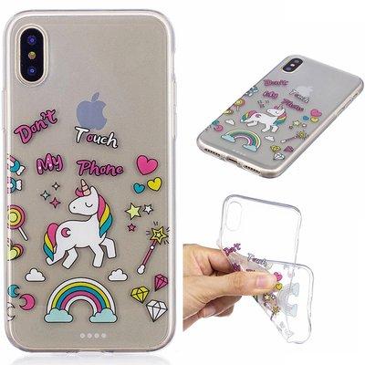 Apple iPhone X / iPhone XS hoesje, doorzichtige gel case met print, pony