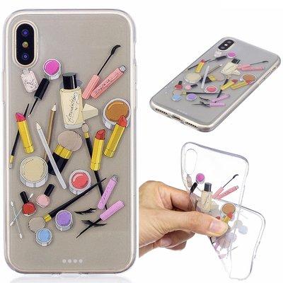 Apple iPhone X / iPhone XS hoesje, doorzichtige gel case met print, make-up