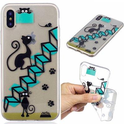 Apple iPhone X / iPhone XS hoesje, doorzichtige gel case met print, trap