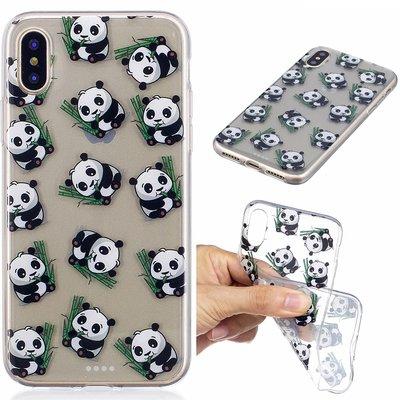 Apple iPhone X / iPhone XS hoesje, doorzichtige gel case met print, panda's