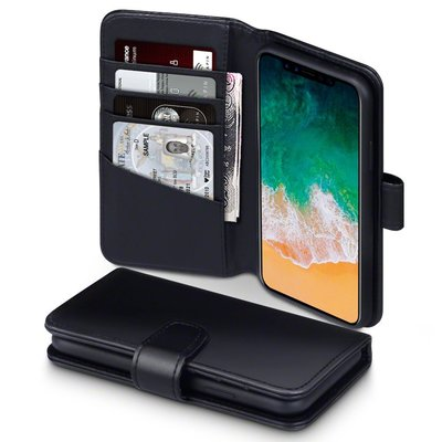 Apple iPhone X / iPhone XS hoesje, echt lederen 3-in-1 bookcase, zwart
