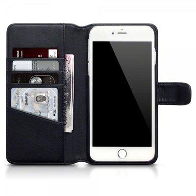 Apple iPhone 7 Plus / iPhone 8 Plus hoesje, echt lederen 3-in-1 bookcase, zwart