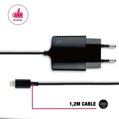 BeHello Apple lightning Reislader (1.2m) 2.1A, Zwart, voor iPhone / iPad