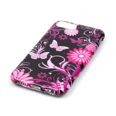 Apple iPhone 7 / iPhone 8 hoesje, gel case met print, vlinders en bloemen