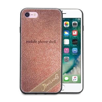 Apple iPhone SE (2020) / iPhone 7 / iPhone 8 hoesje, gel case leder look, licht bruin
