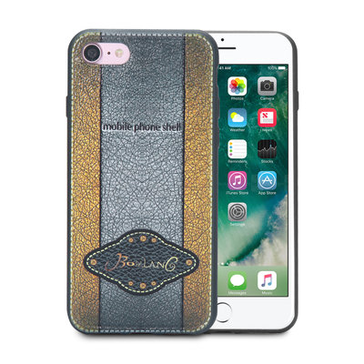 Apple iPhone SE (2020) / iPhone 7 / iPhone 8 hoesje, gel case leder look, zilver-goud