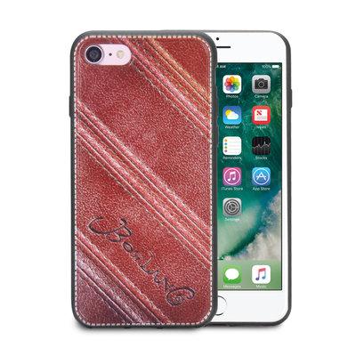 Apple iPhone SE (2020) / iPhone 7 / iPhone 8 hoesje, gel case leder look, donker bruin