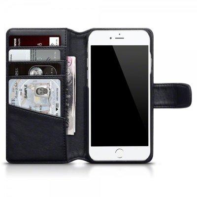 Apple iPhone 7 / iPhone 8 hoesje, echt lederen 3-in-1 bookcase, zwart