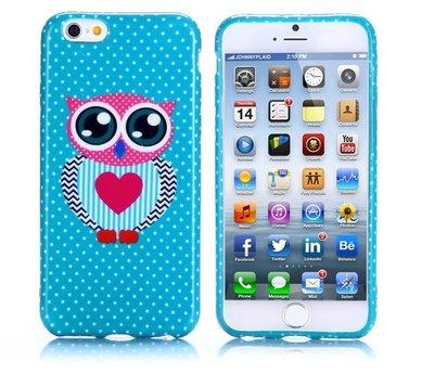 Apple iPhone 6 Plus / iPhone 6S Plus hoesje, gel case met print, uiltje