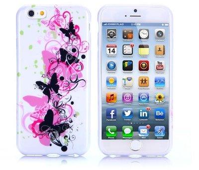 Apple iPhone 6 Plus / iPhone 6S Plus hoesje, gel case met print, vlinders